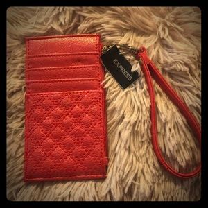 Express shimmery red mini wallet wristlet
